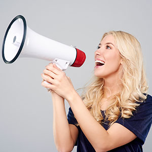 Female with a megaphone